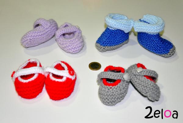 Zapatos de bebé de punto hechos a mano