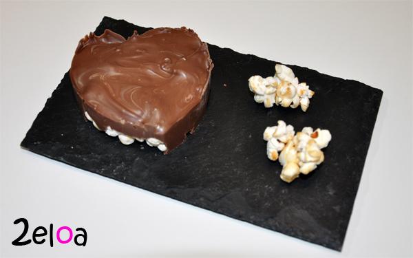 Corazones de Palomitas dulces con chocolate