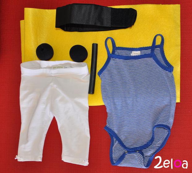 Materiales para disfraz de bebé forzudo DIY - www.2eloa.com