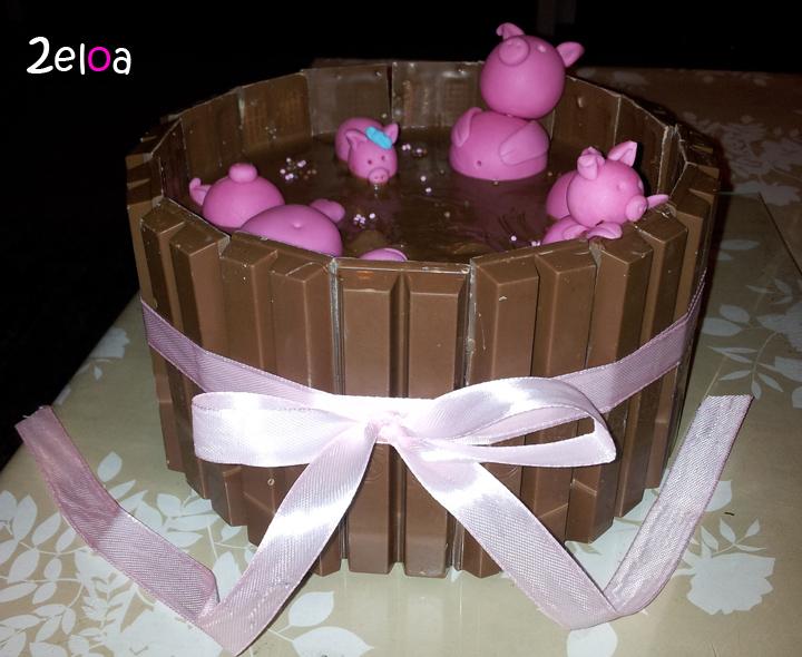 Tarta cerditos Kit Kat - www.2eloa.com