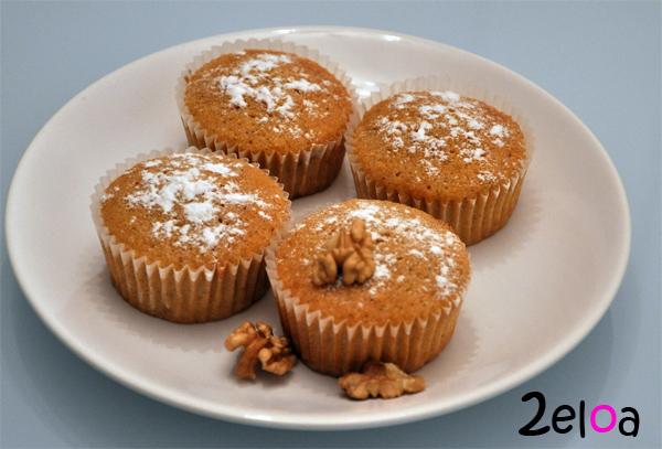 Cupcakes de calabaza y nueces - www.2eloa.com